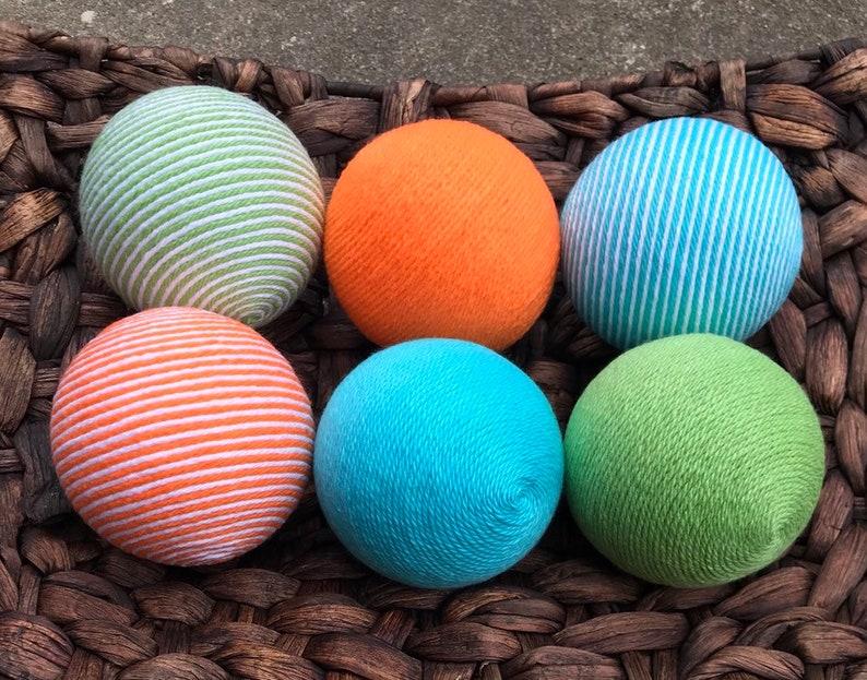 Aqua Lime Green And Orange Yarn Balls Bowl Fillers Vase Etsy