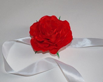 Red Rose wrist corsage - Wrist Corsage or Clip Hair Flower. READY to SHIP! - Any color!