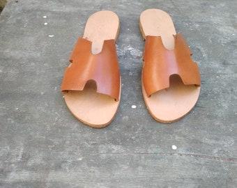 0186308f4e71 HERMES Greek Leather Sandals   Roman Sandals   Natural Tan Sandals   Gladiator  Sandals   Ancient Grecian Sandals