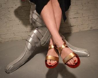Sandales à lanières, sandales en cuir fait à la main, été appartements, chaussures à la main, en cuir ballerines, sandales grecques