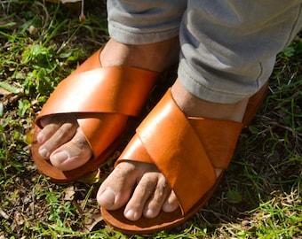 Natural sandals,Mens sandals, Men flat, Slingbacks, Leather sandals, Handmade Sandals, Summer flats,menshoes, men comfort shoes, father gift