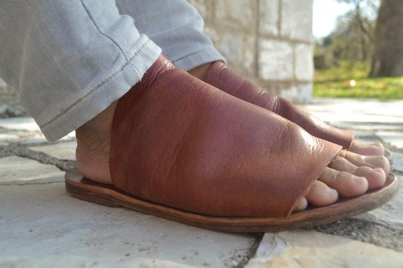 Bräune Herren Ledersandalen Sandalen Schuhe Für Gladiatoren H2YEDW9I