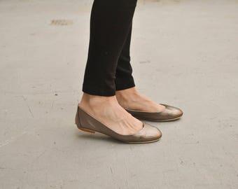 Bronze Leather Ballet Flats