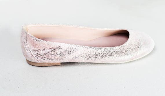 7a77b8c49a0 Rose Gold Suede Leather Ballet Flats ballerina s Summer