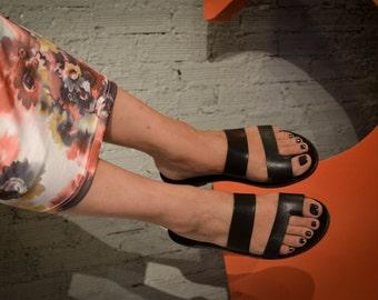 SALE, Black Leather Sandals, Handmade Sandals, Flat Sandals, Black Summer Shoes, Slide Sandals, Toe Ring Sandals, Slip On Sandals