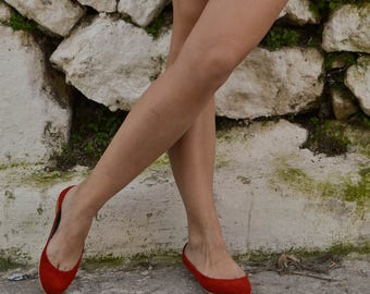 Red Suede Leather Ballet Flats ballerinas ballerina's ballerina pumps ballerina flats ballerina shoes ballet slippers ballet shoes