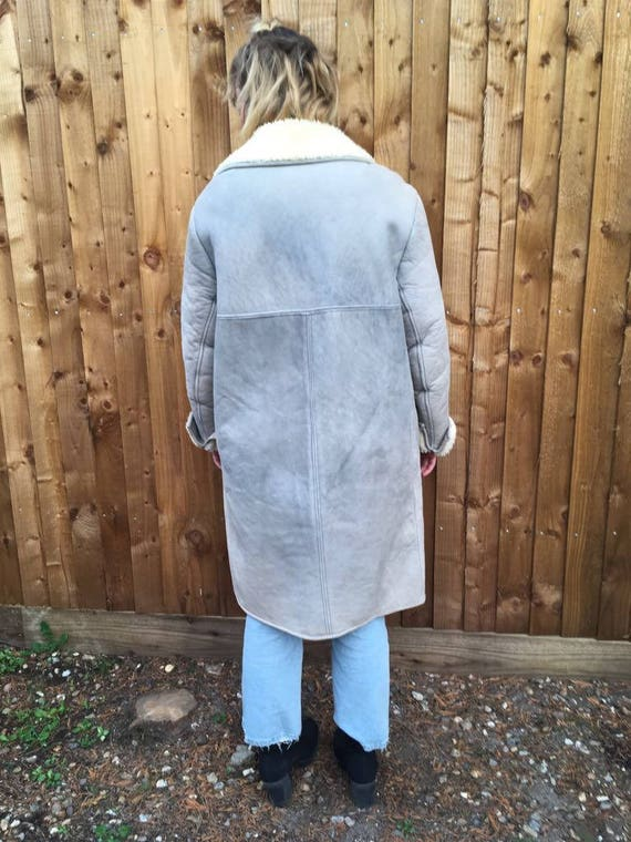 Retro grey ladies 90s Antartex Lambskin Thick Vintage by Coat Oversized wvRxqAqH