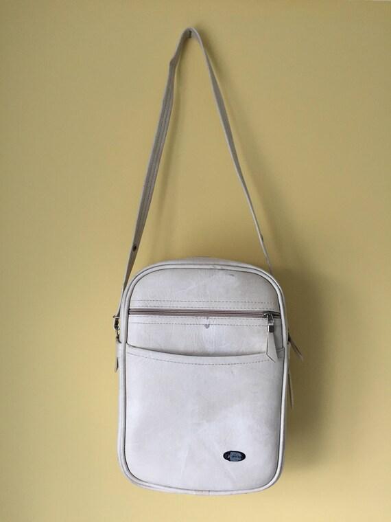 Sac vintage des années 70 Dionite crème sangle, zip et poche extérieure zippée fabriqué au Canada