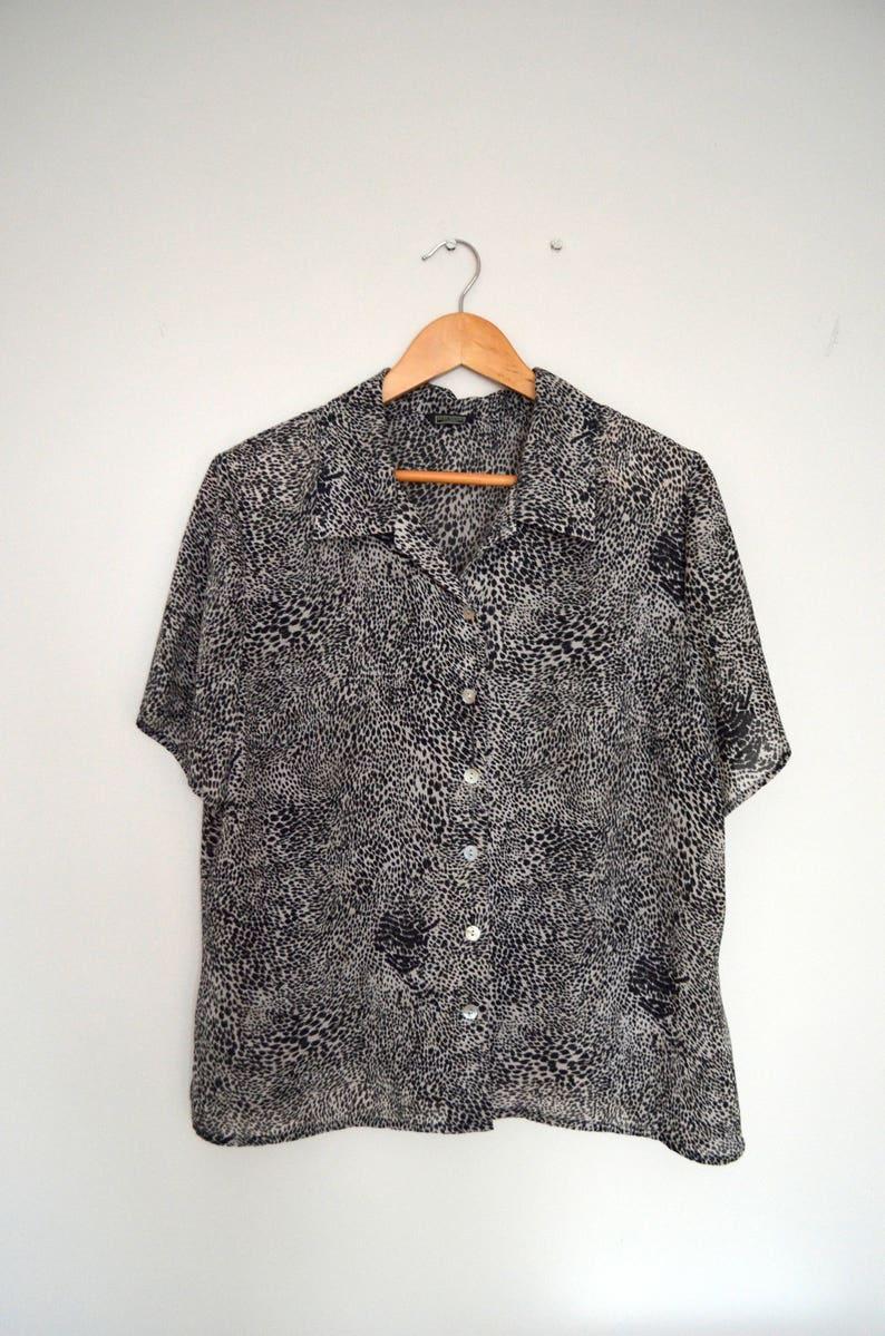 large discount best sale discount shop 80s Vintage leopard print blouse by Debenhams Classics size UK 16