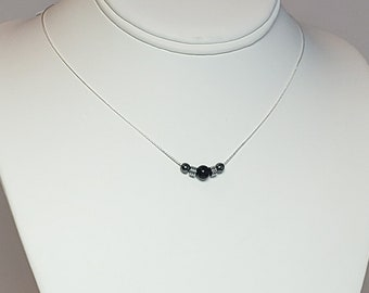 Karelia Shungite and Hematite Sterling Silver Necklace - Protection Necklace - 3 6 9 Energy - Reiki Infused - Choker Necklace - Grounding