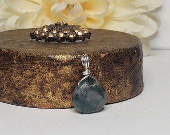 Moss Agate Faceted Gemstone Pendant w/ .999 Fine Silver Wire Bail - Stone of Abundance - Natural Stone Pendant - Reiki Infused Gemstones