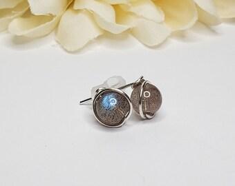 Blue Flash Labradorite Stud Earrings w/ Sterling Silver Wire - Natural Stone Earrings - Wire Wrapped Earrings - Classic Minimalist Earrings
