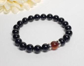 Black Tourmaline & Baltic Amber Gemstone Bracelet w/ Sterling Silver Beads - Radiation Protection Bracelet - Unisex Bracelet - Reiki Jewels