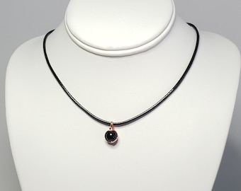 Black Tourmaline Necklace with Copper Wire - EMF Energy Protection - Minimalist - Reiki Jewelry - Choker Necklace - Grounding