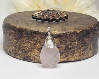 A+ Rose Quartz Gemstone Pendant w/ Fine Silver Wire Bail -Stone of Unconditional Love -Heart Chakra Support -Timeless Jewelry -Reiki Infused