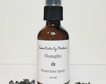 Shungite Protection Spray w/ White Sage Essential Oil - Aura Protection Spray - Smudge Spray - Meditation Preparation Spray - Reiki Infused