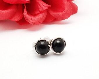 Shungite Stud Earrings w/ Sterling Silver Wire - EMF Protection Earrings - Wire Wrapped Earrings - Classic Stud Earrings - Karelia Shungite
