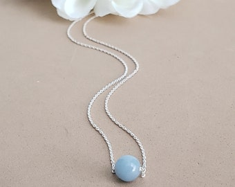 Angelite Dainty Necklace - Sterling Silver - The Angel Stone - Throat Chakra Support - Choker Necklace - Reiki Infused