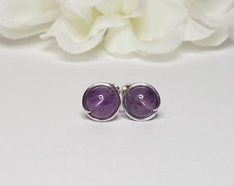 Amethyst Stud Earrings with Sterling Silver Wire - February Birthstone  - Crown Chakra Support - Purple Stones - Classic Stud Earrings