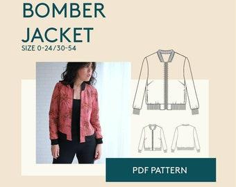 Bomber jacket PDF sewing pattern| Womens bomber jacket PDF pattern| zipper jacket digital sewing patterns for women| jacket pattern tutorial