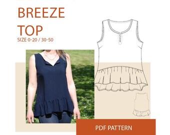 Tunic sewing pattern, Women's Ruffle tunic PDF sewing pattern|Ruffle tunic PDF sewing pattern for women|Womens summer tunic sewing pattern