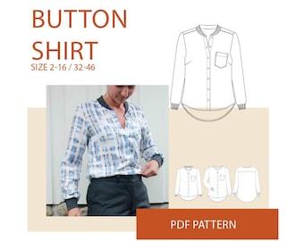 Shirt PDF sewing pattern|Womens tunic pdf pattern|Womens shirt PDF pattern for sewing|Blouse PDF pattern|top pattern for women|tunic pattern