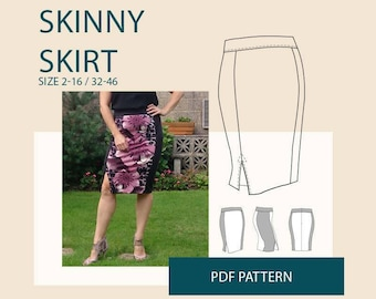 Skirt sewing pattern woman/ Womens skirt tutorial pdf pattern/ PDF skirt sewing pattern for women/ pencil skirt PDF tutorial sewing pattern