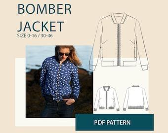 womens bomber jacket PDF sewing pattern| Womens jacket PDF pattern| zipper jacket digital sewing patterns for women| jacket pattern tutorial