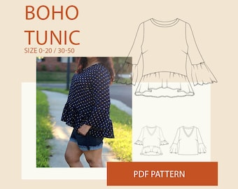 Tunic PDF sewing pattern for women| Womens blouse PDF sewing pattern for women| Womens shirt sewing pattern|Boho tunic PDF pattern women