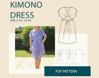 Wrap dress pattern for women, kimono wrap dress PDF pattern jersey dress pattern PDF e book DIY sewing| womens knit jersey dress pattern|