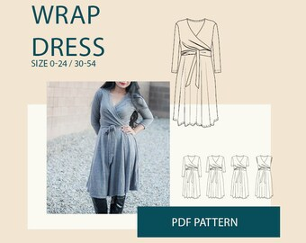 Wrap Dress PDF sewing pattern women / Women's dress digital pattern/ jersey dress PDF pattern for sewing/digital PDF pattern for download