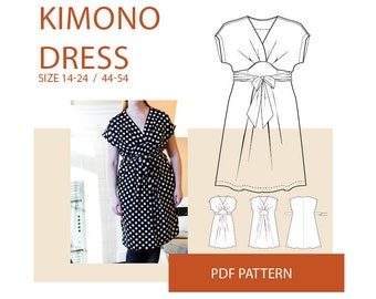 Wrap dress pattern, Kimono wrap dress PDF pattern for sewing|Plus size pattern PDF dress for women|Curvy size dress pattern