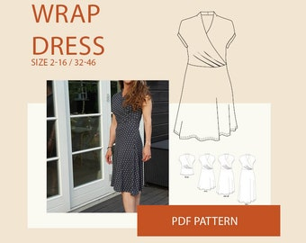 Wrap dress pattern, jersey wrap dress  kimono PDF sewing pattern| jersey wrap dress pattern|wrap dress PDF sewing pattern