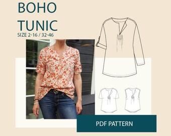 Boho tunic pattern, Sewing patterns tunic PDF pattern for women|Tunic PDF sewing pattern for women|Womens tunic sewing pattern