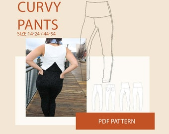 Plus size pants pattern/womens plus size pants pdf sewing pattern/plus size woven pants digital sewing pattern for women