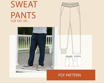 Mens PDF sewing patterns men's digital pdf sweatpants pattern mens joggers PDF pattern for sewing pants PDF sewing pattern tutorial
