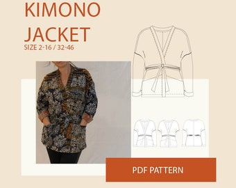 Kimono jacket PDF sewing pattern for women|Kimono jacket pdf pattern for sewing|Jacket PDF sewing pattern|Adult jacket PDF sewing pattern