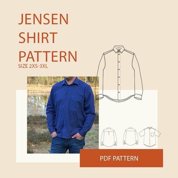 shirt sewing pattern for men button down shirt PDF pattern | Etsy