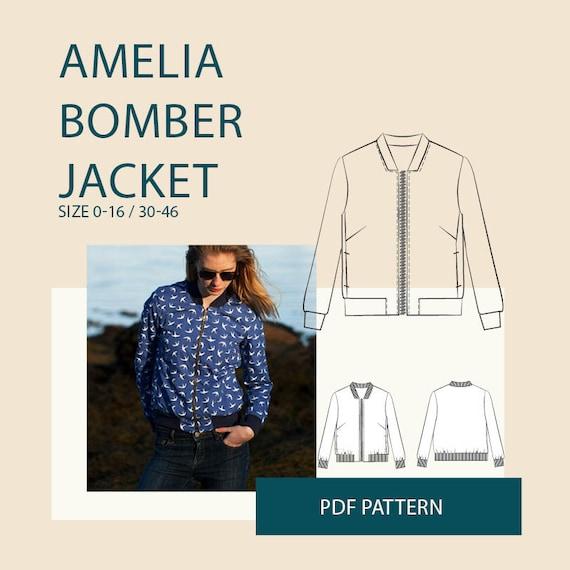 womens bomber jacket PDF sewing pattern Womens jacket PDF | Etsy