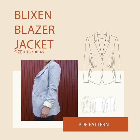 womens blazer jacket PDF sewing pattern sewing patterns | Etsy