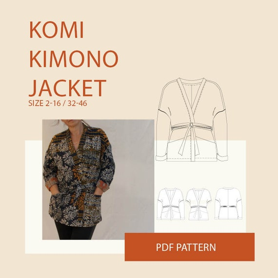 Kimono jacket PDF sewing pattern for womenKimono jacket pdf | Etsy