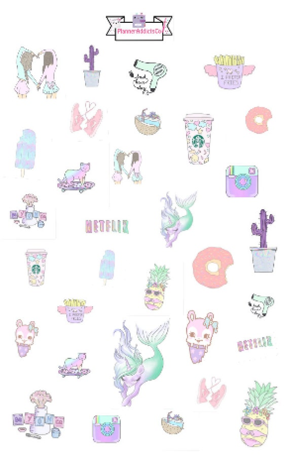 Tumblr Inspired Pastel Girly & Cute Planner Stickers | Etsy