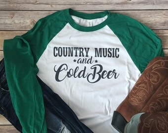 Long sleeve country tee- country music tshirt- cold beer tshirt- country concert tee- country concert tshirt