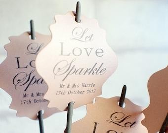 Let love sparkle tags, Pearlised Wedding tags, wedding sparkler tags, pearlised tags for sparklers, celebration wedding labels,