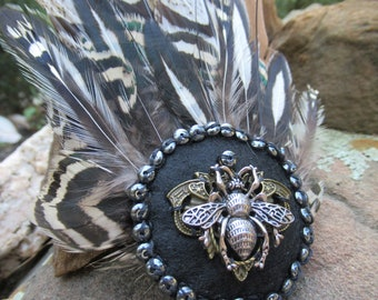 Vintage inspired feathered hair piece, Wedding Hair accessory, Steampunk accessory, Halloween accessory, Vintage hair clip, Boho wedding