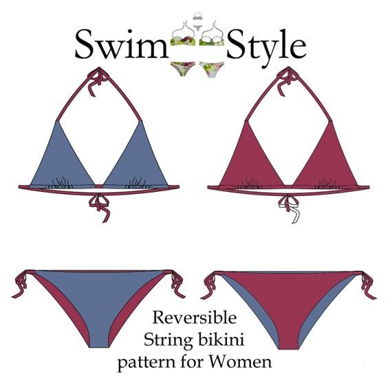 Reversible String bikini Swimwear sewing pattern Women