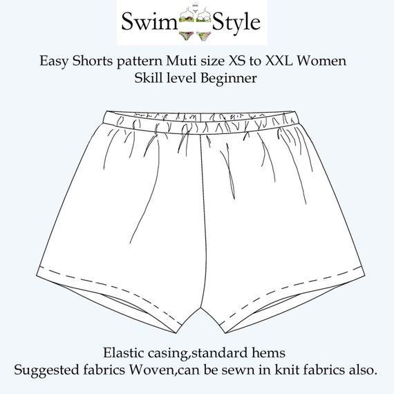 Easy Beach shorts sewing pattern for Women   Etsy