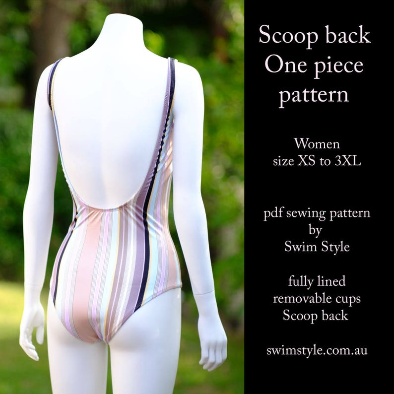 cda0eef719 Scoop back One piece pdf sewing pattern Swim suit Women size | Etsy