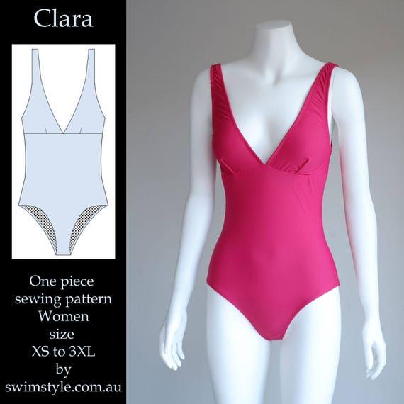 Clara One piece Swim Suit sewing pattern Women size XS to 3XL   Etsy