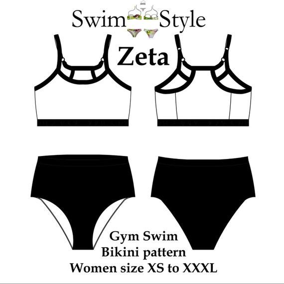 Zeta bikini Swim Gym style bikini sewing pattern Women | Etsy